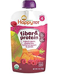 Happy Baby Fiber and Protein Pears Raspberries, Butternut Squash and Carrots, Stage 4, 4 oz