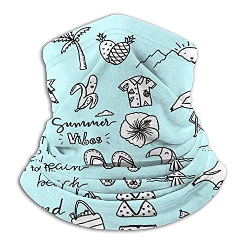 Towel&bag Traje de baño piña coco bebida fría cuello polaina máscara facial bandana calentador de cuello frío viento ligero bufanda de seda hielo para hombres mujeres negro
