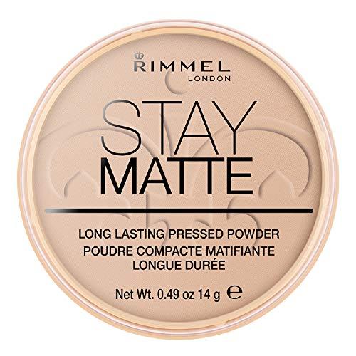 Rimmel London Cipria Compatta Stay Matte, Polvere Opacizzante a Lunga Tenuta per Pelli Grasse e Miste, 005 Silky Beige,14 g