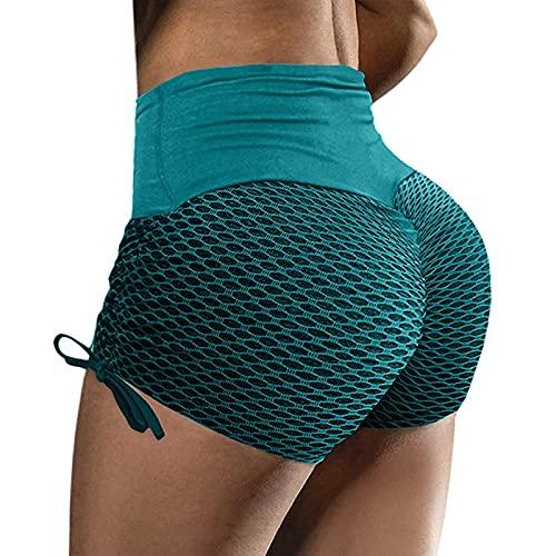2021 Nuevo Mujer Pantalones corto, Elásticos mallas Moda Leggings Yoga Cordón Pantalones Burbuja shorts Cadera Cintura alta Color sólido Patchwork Gym Fitness Slim Fit Pants Deportivos Aptitud