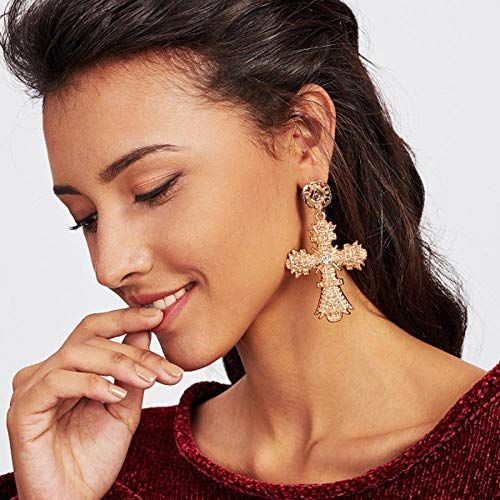 Erin Earring Pendientes Colgantes Cruzados Dorados De Metal Vintage Joyas Barrocas Grandes con Pendientes Largos De Boho para Mujer