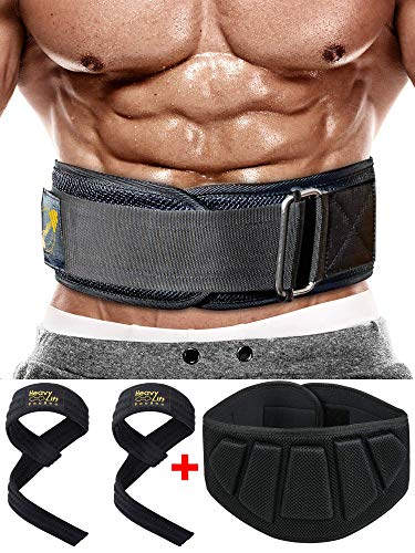 Weight Lifting Belt and Wrist Wraps for Weightlifting   6 Inch Heavy Power Weight Lifting Belt for Men and Women for Fitness Back Support for Cross Training Workout, Lunges, Deadlift, Squats - Large