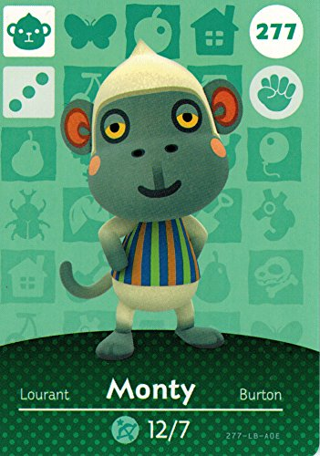 Nintendo Animal Crossing Happy Home Designer Amiibo Card Monty 277/300 USA Version