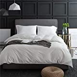 Luxury Solid White Duvet Cover Set King Hotel Quality Egyptian Cotton Bedding Set Cool Soft 3 Piece Duvet Comforter Cover Set 1 Duvet Cover with 2 Pillowcases Solid Bedding Collection