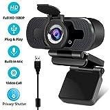 EasyULT Webcam 1080P Full HD, con Cubierta de Privacidad, PC Cmara Web de Alta Definicicon Micrfono Reductor de Ruido y Correccin de iluminacin Automtica USB Plug and Play, para PC, Porttil