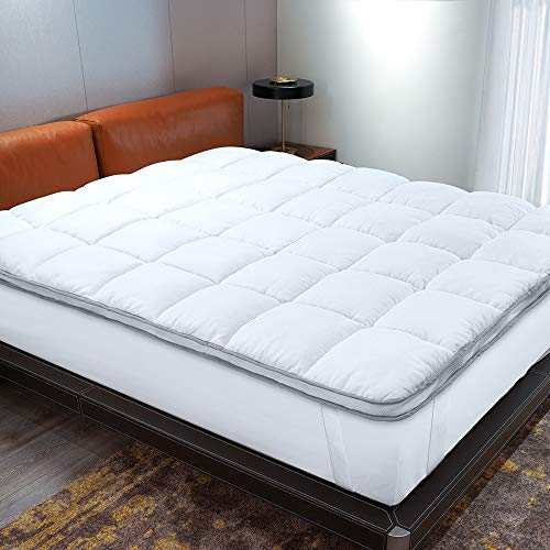 Thick Dual Layer Mattress Topper Queen Size, Air-Flow Cooling Pillowtop Bed Topper Filled with Down Alternative Fiber, Mattress Cover