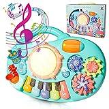 HOMCENT Frühe Erziehung Baby Musikspielzeug, Klaviere Keyboard für 6 9 12 18 Monate Kleinkinder, Spielzeug Trommel für Kinder 1 2 Jahre Jungen und Mädchen