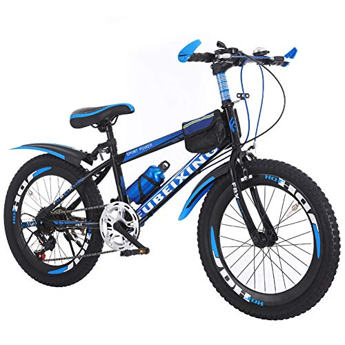 LINGYUN Youth Variable Speed Mountain Bike Boys/Girls, Mountain Bikes for Kids 18 20 22 Inch, with Water Bottle and Car Bag, for 110-165cm,Black,20in