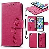 Geniric Funda iPhone 7, Carcasa Libro de Cuero Impresión de Amor PU Premium y TPU Funda Interna (2 en 1, Separable), Wallet Case Cover iPhone 7 con Soporte Plegable - Rosa Rojo