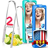 Metal Tongue Scraper for Adults, 2 Pack Food-Grade Stainless Steel Tongue Scraper Cleaner Family Set - with 2 Pack Nice Storage Box [ 100% Cure Bad Breath ]