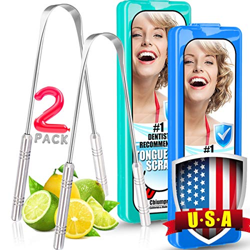 Tongue Scraper 2 Pack Professional Stainless Steel Metal Tongue Scraper Cleaner for Adults, Kids - with 2 Pack Great Carrying Box - 100% Cure Bad Breath - Built To Last