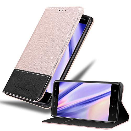 Preisvergleich Produktbild Cadorabo Hülle für Nokia 5 2017 in Gold SCHWARZ Handyhülle mit Magnetverschluss,  Standfunktion und Kartenfach Case Cover Schutzhülle Etui Tasche Book Klapp Style