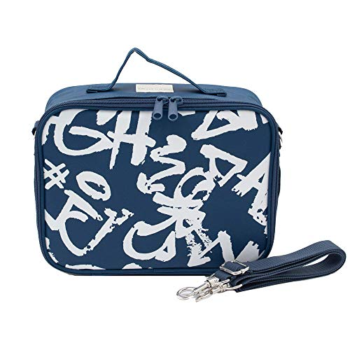 SoYoung Lunch Bag - Washable Paper, Eco-Friendly, Retro-Inspired and Easy to Clean (Navy and White Graffiti)