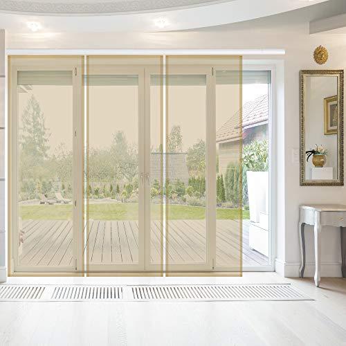Bestlivings Flächenvorhang Elena 3er Pack (B x H) 60 x 260 cm inkl. Zubehör Beige, transparenter einfarbiger Schiebevorhang, in vielen Farben