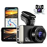 JOMISE 4K Ultra HD Dual Dash Cam with Built-in Wi-Fi GPS, 2K &1080P Front and Rear Dashcams with 3' IPS Screen, HUD Speed Displayed, Sony Starvis Sensor, G-Sensor, Parking Monitor, Loop Recording