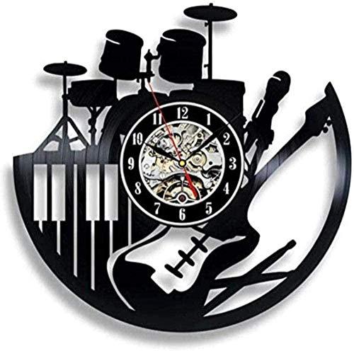 szhao Reloj de Pared de Vinilo de Instrumentos Musicales de diseño Moderno para DJ Rock Music Band Piano Guitar Drum Reloj de Pared de Vinilo Reloj de Pared - con LED.