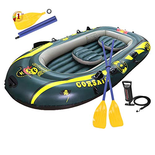 WASAKKY 4 Person Inflatable Boat - Thicken Raft Kayak Assault Rubber Boats,Wear-Resisting Hovercraft Dinghies for Fishing,Entertainment