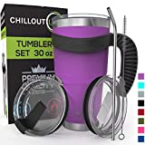 Stainless Steel Travel Mug with Handle 30oz – 6 Piece Set. Tumbler with Handle, Straw, Cleaning...