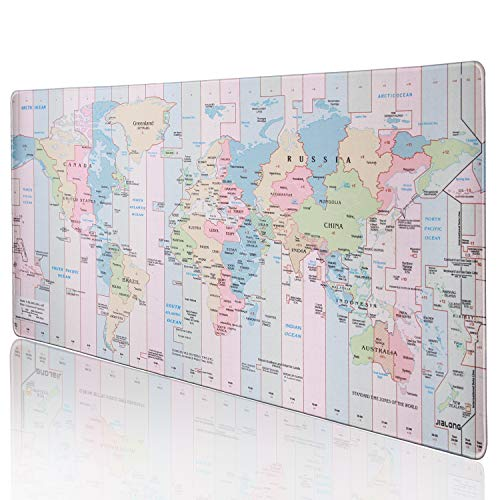 JIALONG Gaming Mouse Pad Desk Office Mouse Mat Large Size 900x400x3mm Comfortable Mousepad with Smooth Cloth Surface, Improved Precision and Speed - Colourful World Map