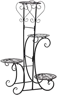 Gettesy Estantería Decorativa de Hierro para Macetas Soporte de Flores Plantas para Exterior Interior Jardín con 4 estantes, 50 x 22 x 82cm