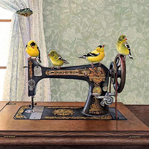 GYK Boutique Máquina de Coser pájaro Pintura de Diamantes, 60 x 60 cm