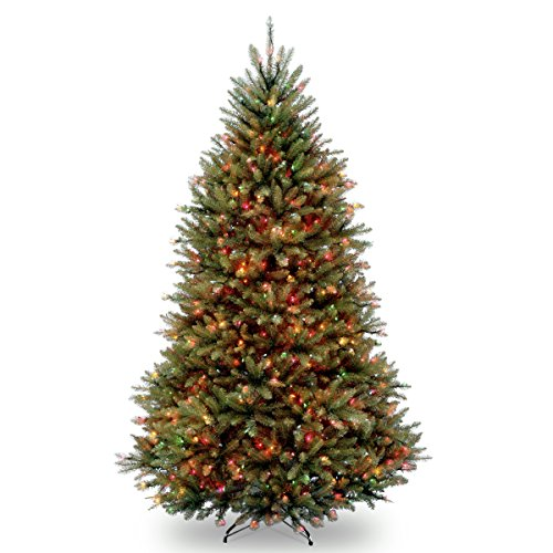 National Tree Company lit Artificial Christmas Tree Includes Pre-strung Multi-Color Lights and Stand | Dunhill Fir-7.5 ft, Green