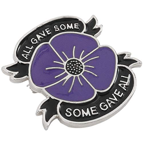 luckystoreme Purple Poppy Brooch Poppy Pin Badges Lapel Banquet Flower Enamel All Gave Some Remembrance Day Gift 2019 (Silver)