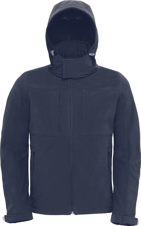 B&C Herren Softshell Kapuzen Jacke High Performance Sportbekleidung vorne Reiverschluss Mantel