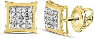 Diamond2Deal - Orecchini quadrati a forma di aquilone, in oro giallo 10 ct, con diamanti quadrati