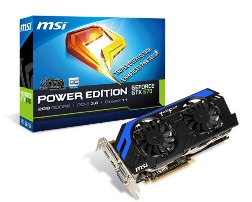 MSI NVIDIA GTX 670 Power Edition Grafikkarte (PCI-e, 2GB GDDR5 Speicher, DVI, HDMI, DisplayPort, 1 GPU)