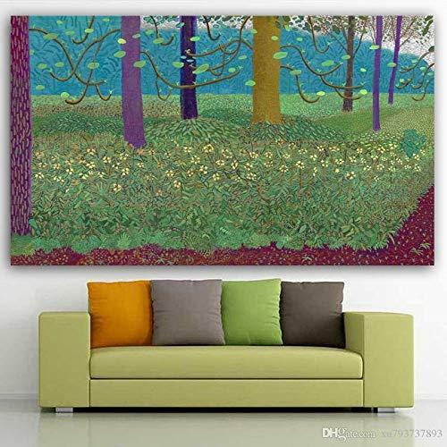 SDFSD boom foto's David Hockney landschap bos gras olieverfschilderij canvas schilderij moderne abstracte kunst voor de kamer 40x60cm S
