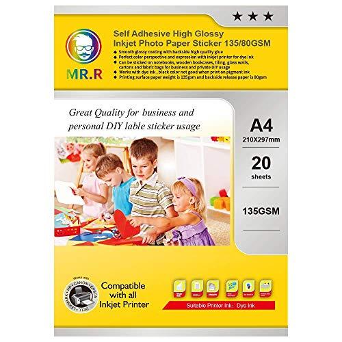 MR.R 20 Feuilles x A4 Papier Photo Autocollant Brillant Pour Imprimante Jet d'Encre,135 g/m²