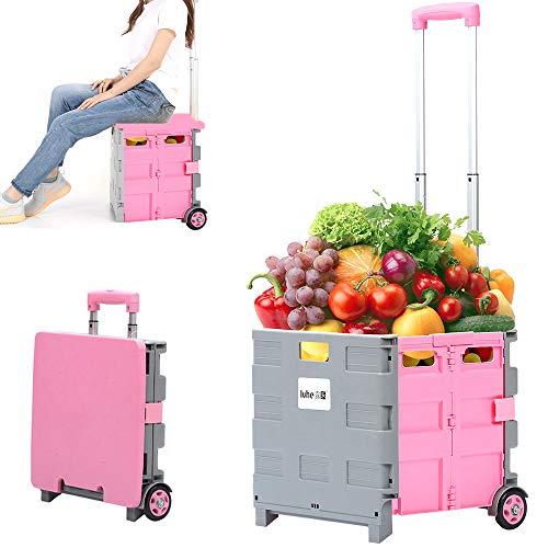 LIMEID Carritos de la Compra, Carretilla Manual Plegable - 50 KG de Carga, 60 L de Capacidad, con Freno, Altura de Palanca Ajustable, para Equipaje, Viajes, Compras,Pink