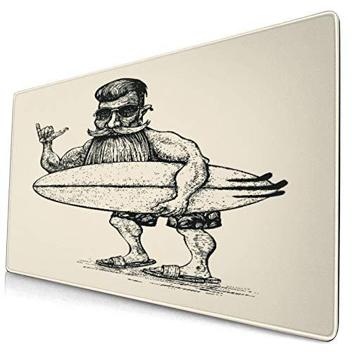 Nettes Mauspad ,Hipster Surfer Bart Schnurrbart Sonnenbrille und S,Rechteckiges rutschfestes Gummi-Mauspad für den Desktop,Gamer-Schreibtischmatte,15,8