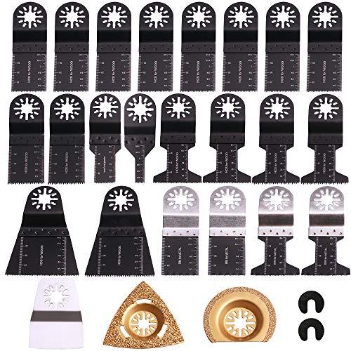25tlg Sägeblätter Kit Multitool Oszillierwerkzeug-Zubehör Mix Klingen Set für Fein Multimaster, Milwaukee, Makita, Dewalt, Einhell