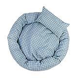Lumanuby. 1x Voller Gitter Bilder Haustier Nest aus Baumwolle mit PP Cotton Füllung Weiches Eierkuchen Katzenbett für Haustier 1.0-8.0kg Anti-Rutsch Tierbett für Kuscheln, Ausruhen und Entspannen