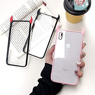 BAKER Store 3D Luxury Devil Horns Clear Softly Phone Case for iPhone 6/6S/6 Plus/ 6S Plus/7/8/7 Plus/ 8 Plus/X/Xs/Xs Max/XR Clear Cover Case (Pink Horn, iPhone 7/8)