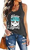 MOUSYA Women Sleeveless Tank Top, Feelin' Willie Good Letter Printed Graphic Vest Top Casual Tee, Gray Size XL