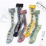 BAIJINGTING Calcetines de Mujer con Estampado de Flores de Moda de Primavera Calcetines Finos Suaves y Transpirables Calcetines Femeninos Casuales Hispter Sox