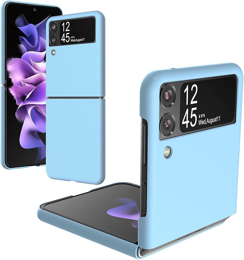 Foluu Galaxy Z Flip 3 Case, for Samsung Galaxy Z Flip 3 Slim Phone Case, Premium Thin Full Protection Hard PC with Non-Slip Grip Protective Cover for Samsung Galaxy Z Flip 3 5G 2021 (Blue)