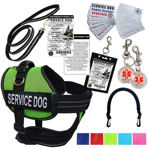 Activedogs Service Dog Kit - 2XL Lime Green Mesh Service Dog Vest Harness + Free Registered Service Dog ID + Clip-on Bridge Handle + ADA/Federal Law Cards + Travel Tag