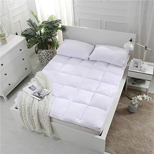 HY Dick Unterbetten Tatami matratzenauflage, Tatami matratzenauflage Japaner Bettwäsche ausgestattete matratze gesteppt Plüsch Premium Hotel qualität Topper-Weiß 150x200cm(59x79inch)