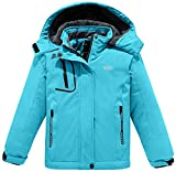 Wantdo Girl's Winter Ski Fleece Jacket Breathable Winter Warm Raincoats Light Blue 10/12