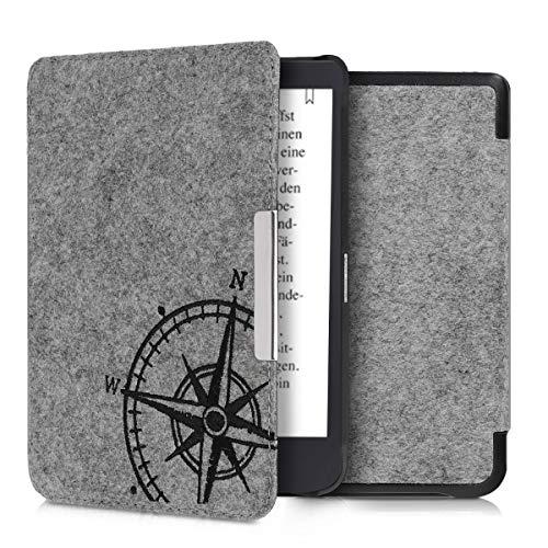 kwmobile Hülle kompatibel mit Tolino Shine 3 - Filz Stoff eReader Schutzhülle Cover Hülle - Kompass Vintage Schwarz Hellgrau