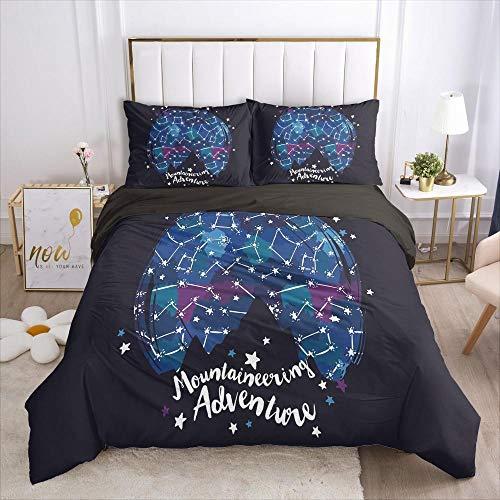 QDoodePoyer Biancheria da letto - Nero sfondo carattere motivo set di biancheria da letto set da 3 pezzi copripiumino con chiusura lampo in microfibra 135x200cm 2 federe 65 x 65 cm