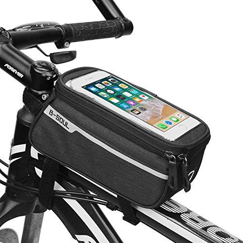 Longtg - Borsa per telaio della bicicletta, impermeabile, con foro per cuffie, per qualsiasi cellulare inferiore a 5,7-15,2 cm, Nero 2, 21x9x10.5cm(8.2x3.5x4'')
