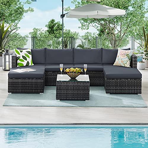 Tibesigns Outdoor Patio Set de muebles de jardín de ratán, juego de sofá esquinero con mesa de cristal y cojines, salón de jardín para 6 personas, grupo de asientos para jardín y piscina