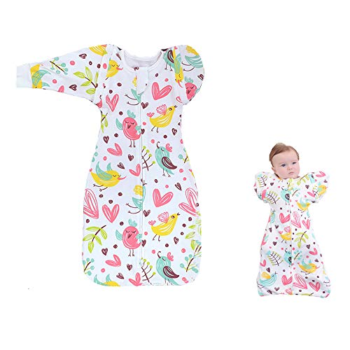 Xdemeno Swaddling Blankets,Baby Transitional Swaddle with Arms Up Removable Long Sleeve,or Sleeveless,100% Cotton,Snug Fit Calms Startle Reflex,Appease The Baby 0-6month(M,Pink)