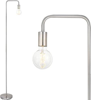 BBHome Lampadaire rétro incurvé en métal minimaliste avec interrupteur à pied pour chambre à coucher, salon, lecture, bureau I 165 cm I E27 (nickel argent)