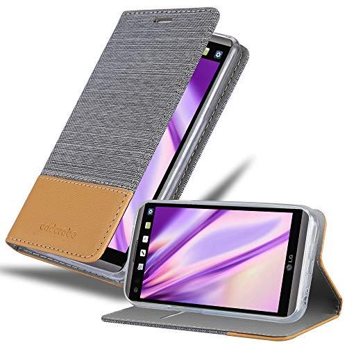 Cadorabo Hülle für LG V20 in HELL GRAU BRAUN - Handyhülle mit Magnetverschluss, Standfunktion & Kartenfach - Hülle Cover Schutzhülle Etui Tasche Book Klapp Style
